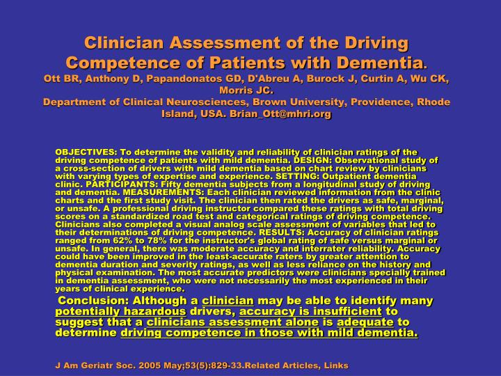 Clinician Assessment of the Driving Competence of Patients with Dementia