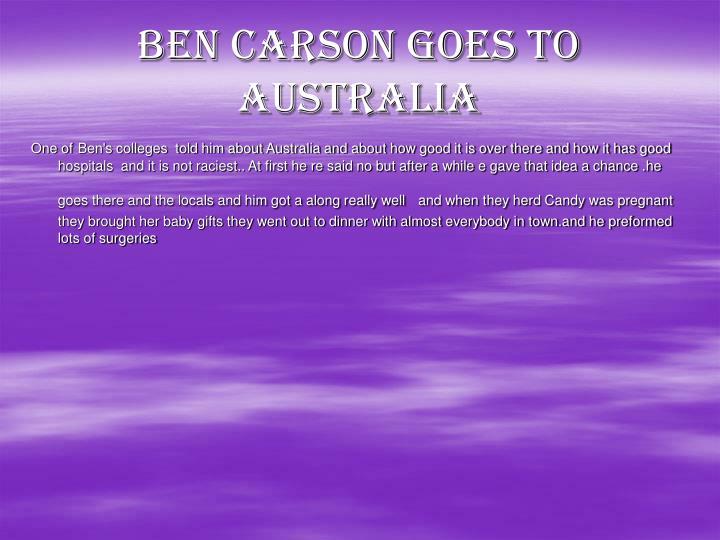 Ben Carson goes to Australia