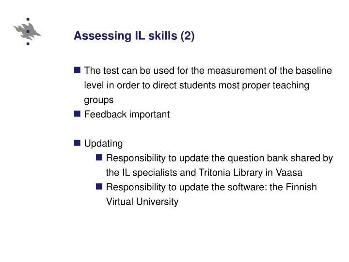 Assessing IL skills (2)