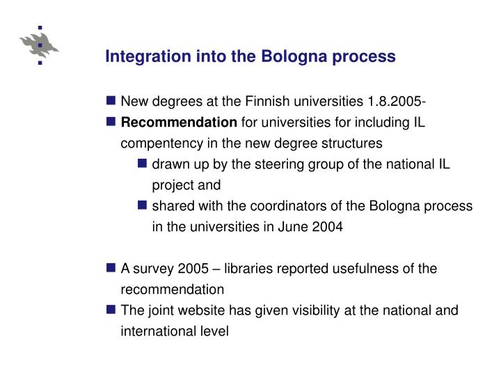 Integration into the Bologna process