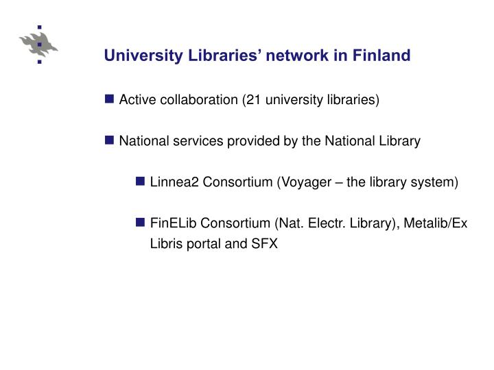 University libraries network in finland