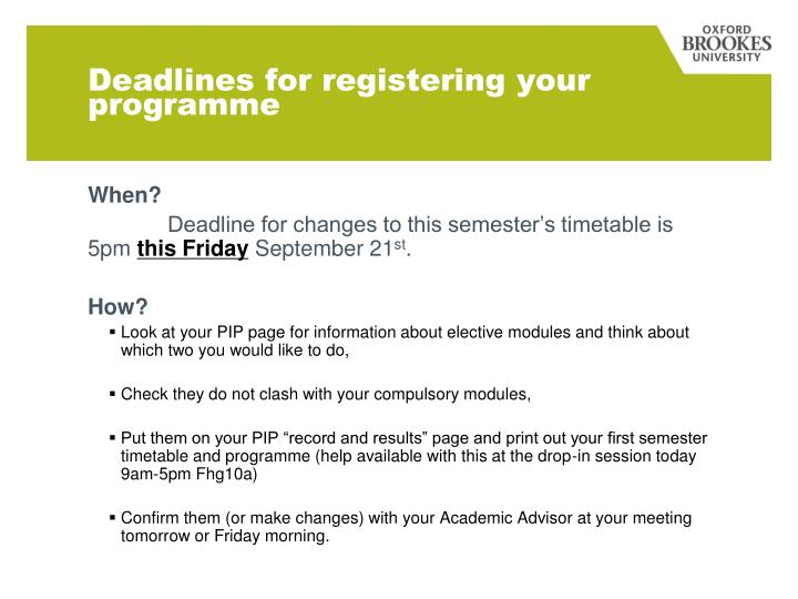 Deadlines for registering your programme