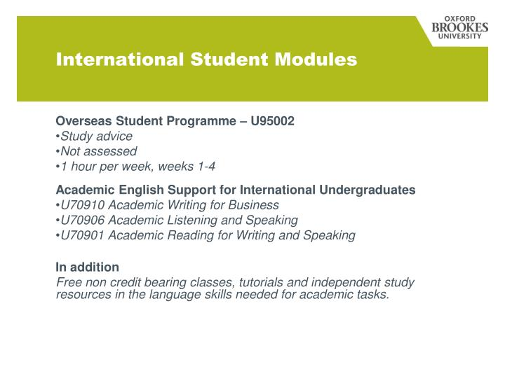 International Student Modules