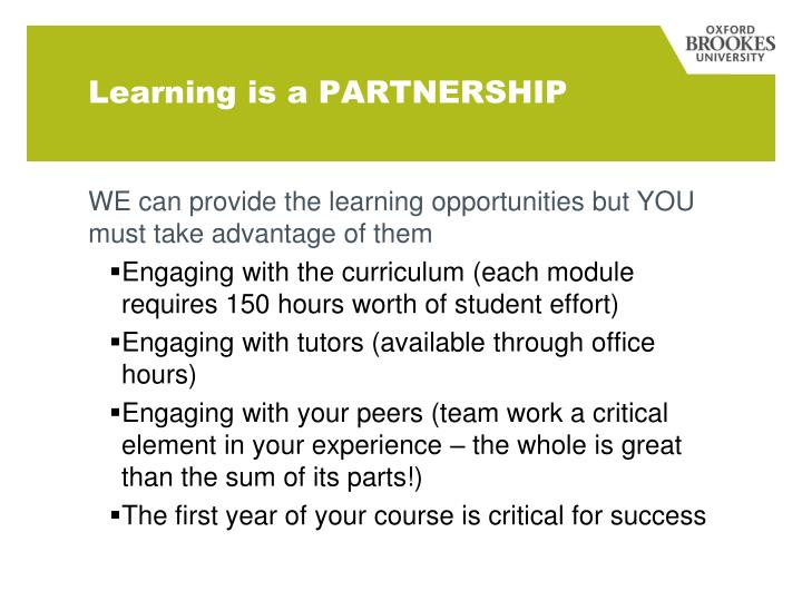 Learning is a PARTNERSHIP