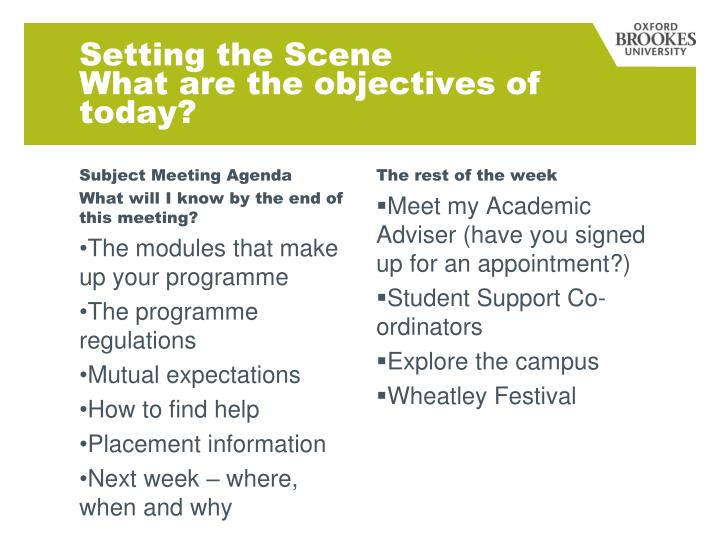 Setting the scene what are the objectives of today