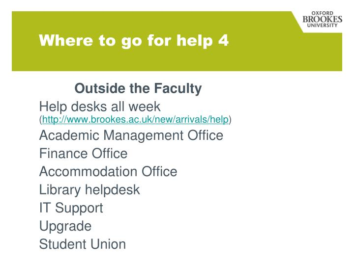 Where to go for help 4