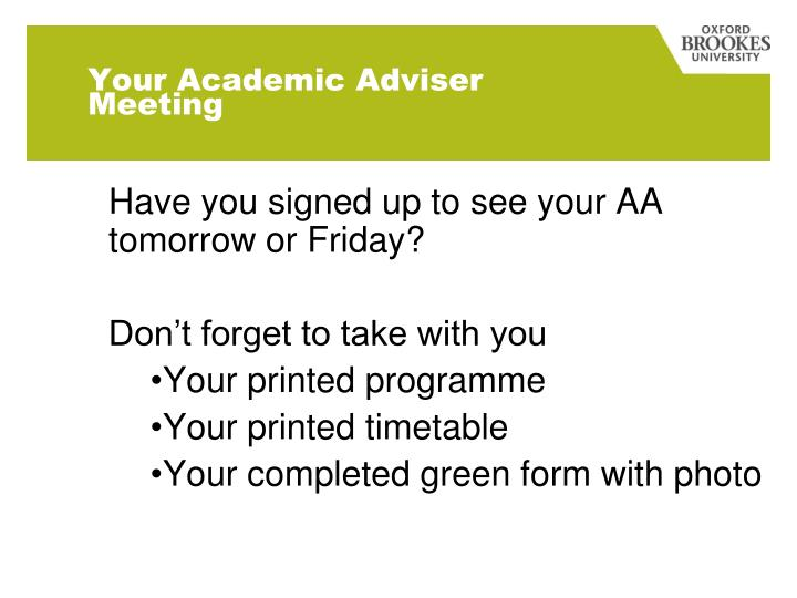 Your Academic Adviser Meeting