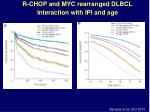 r chop and myc rearranged dlbcl interaction with ipi and age