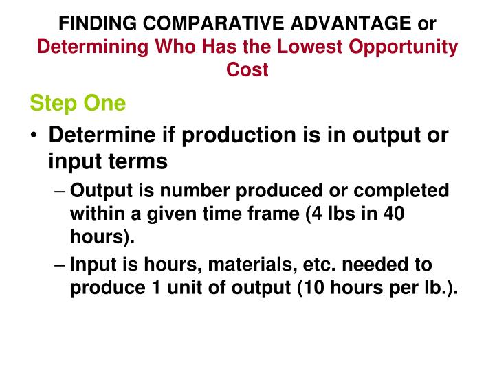 FINDING COMPARATIVE ADVANTAGE or