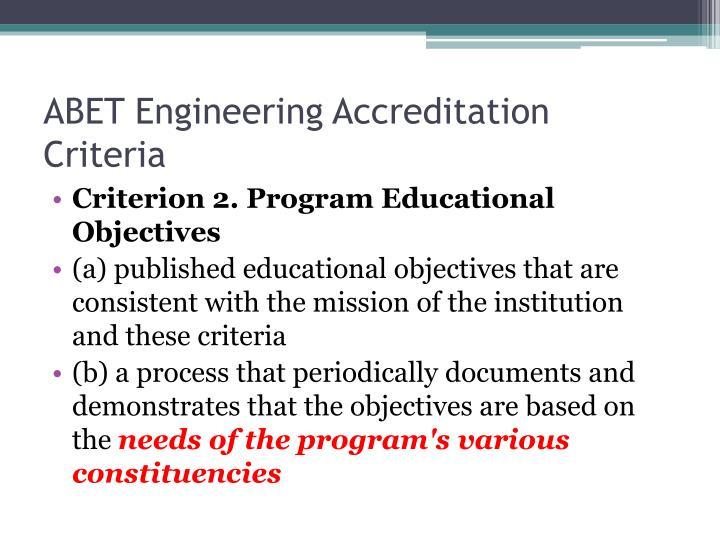 ABET Engineering Accreditation Criteria