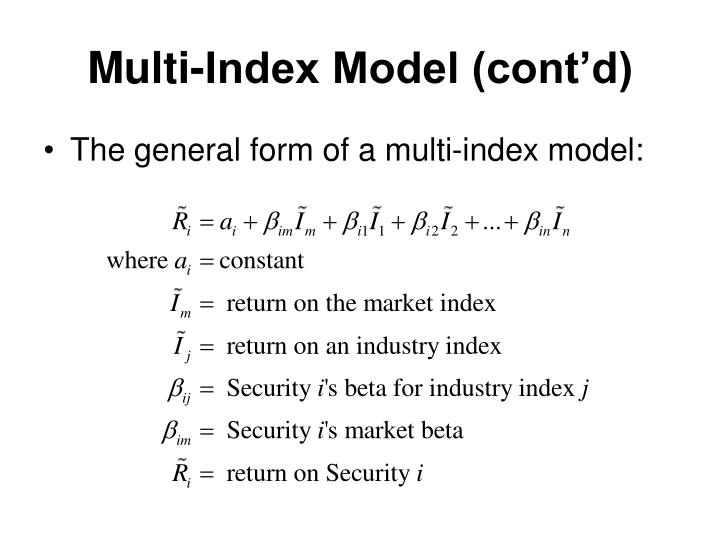 Multi-Index Model (cont'd)