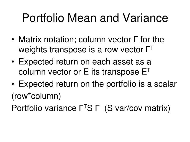 Portfolio Mean and Variance