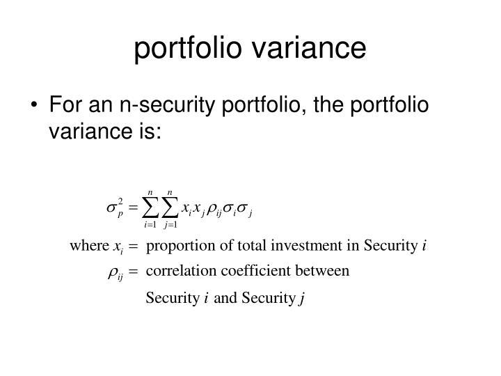 portfolio variance