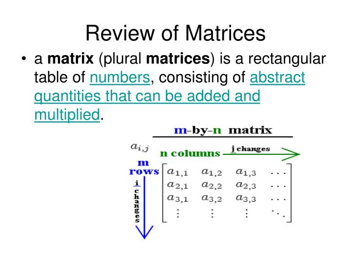 Review of Matrices