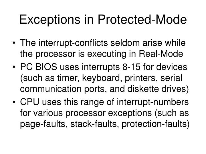 Exceptions in Protected-Mode