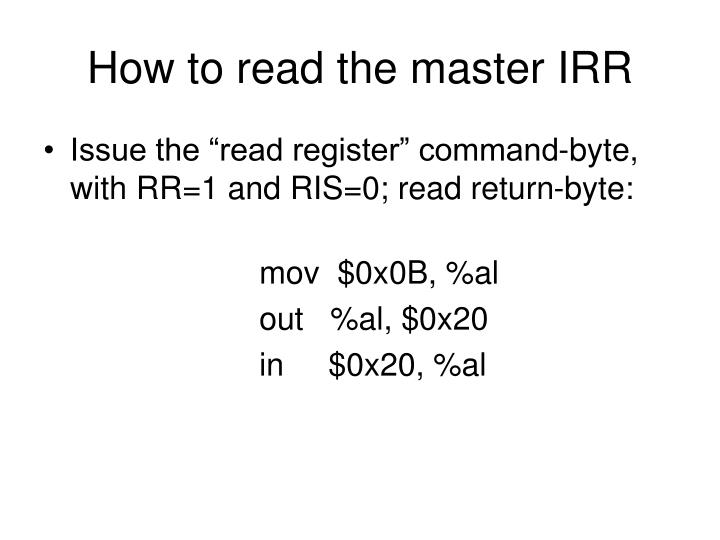 How to read the master IRR