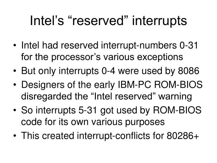 """Intel's """"reserved"""" interrupts"""