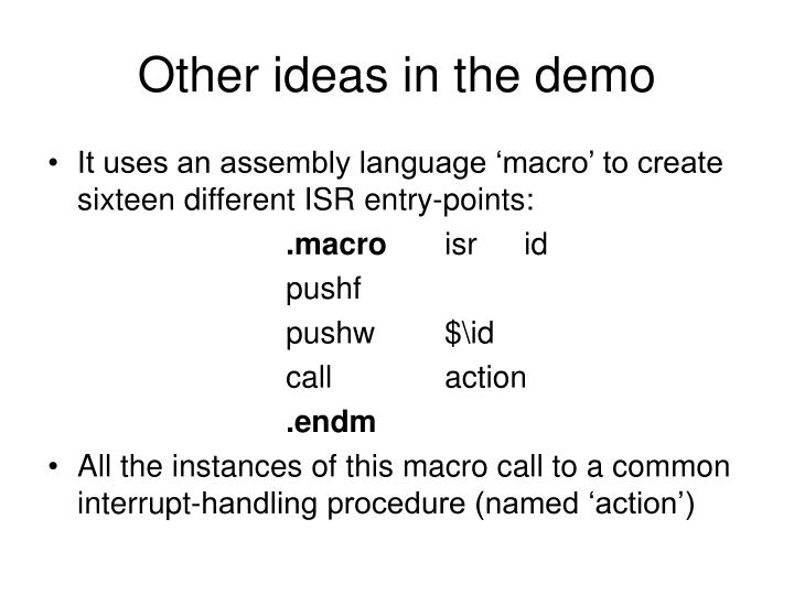 Other ideas in the demo