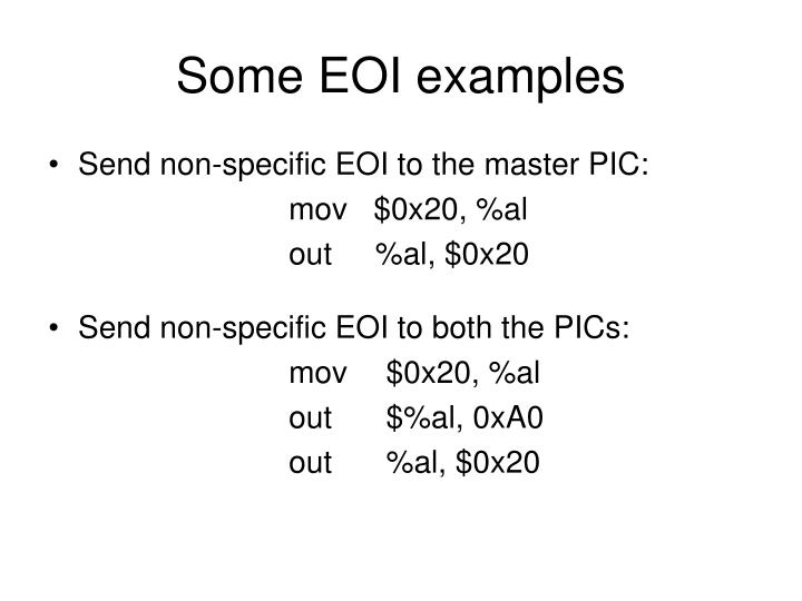 Some EOI examples
