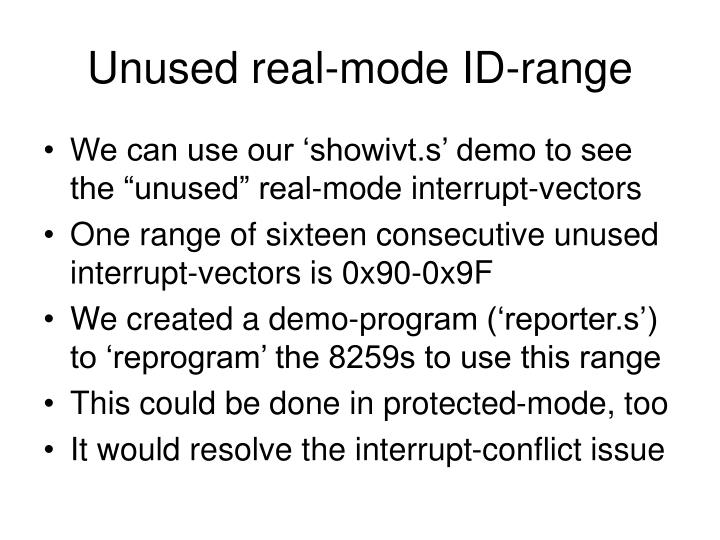 Unused real-mode ID-range