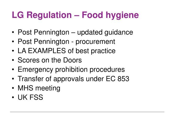 LG Regulation – Food hygiene