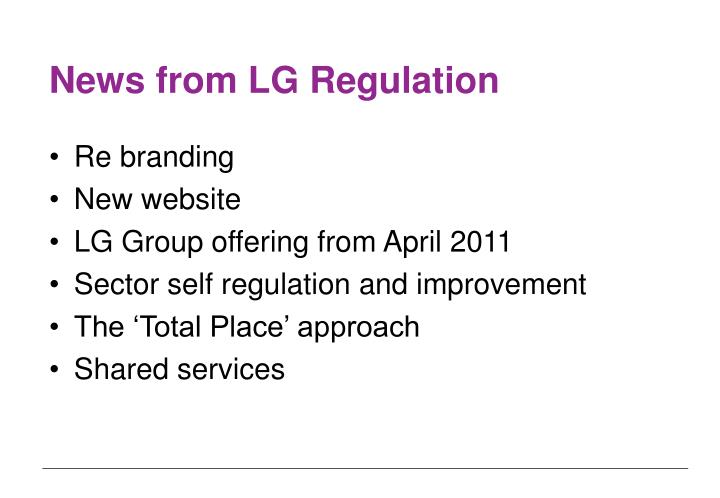News from LG Regulation
