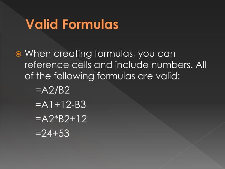 Valid Formulas