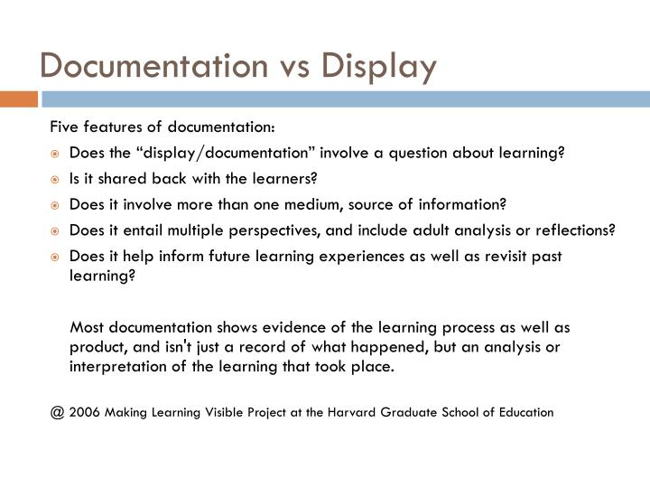 Documentation vs Display
