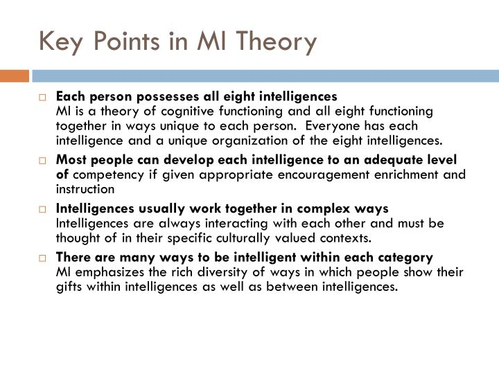 Key Points in MI Theory
