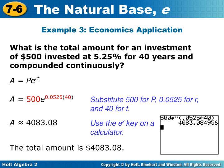 Example 3: Economics Application