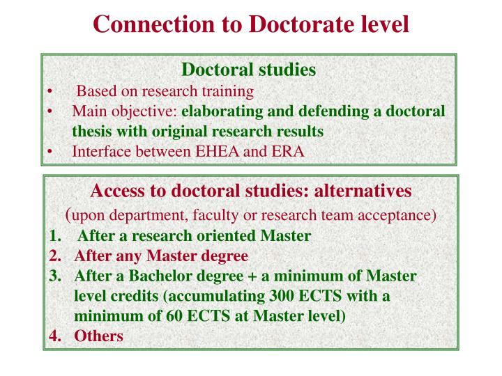Connection to Doctorate level
