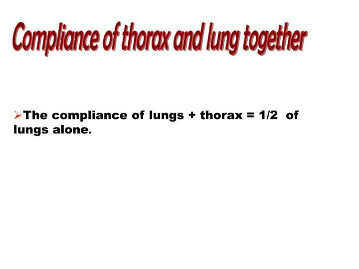Compliance of thorax and lung together