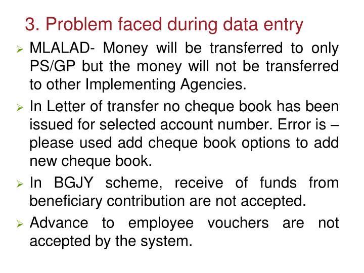 3. Problem faced during data entry