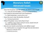 monetary relief advanced issues