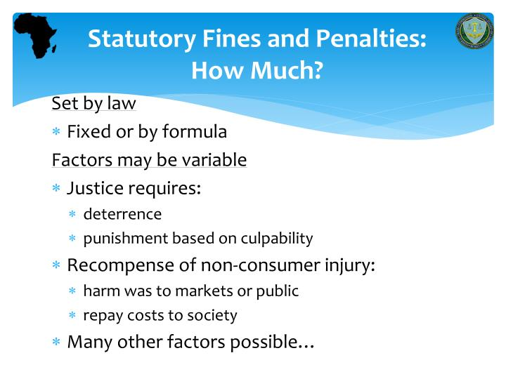 Statutory Fines and Penalties: