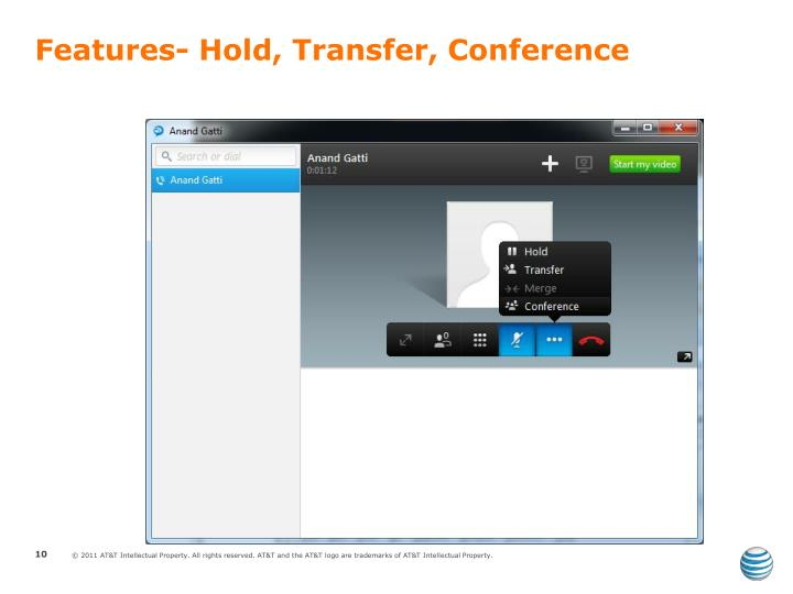Features- Hold, Transfer, Conference