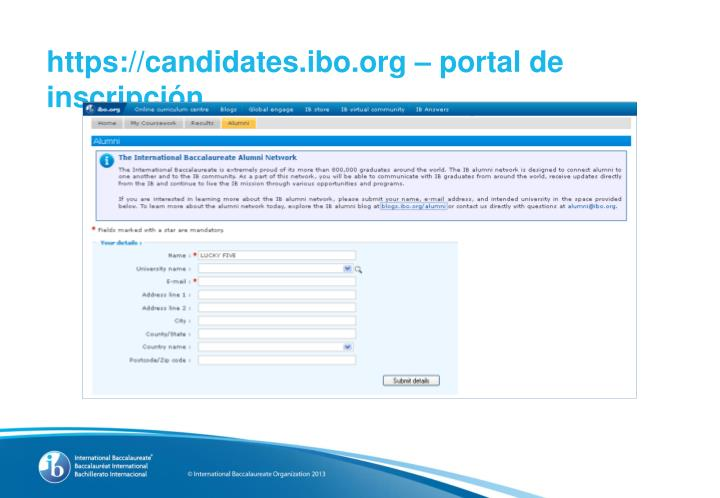 https://candidates.ibo.org –