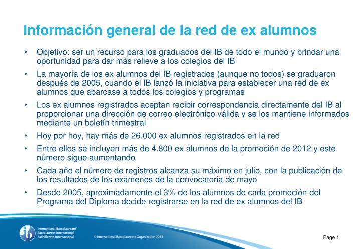 Información general de la red de ex alumnos