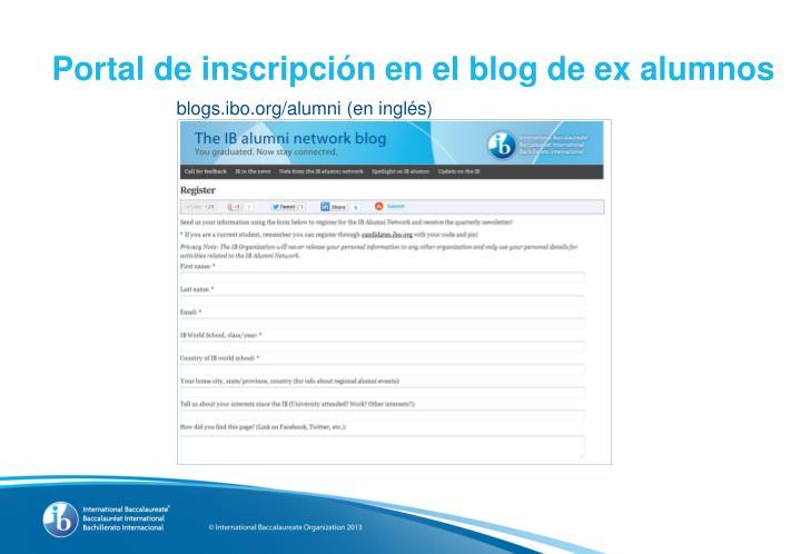Portal de inscripción en el blog de ex alumnos