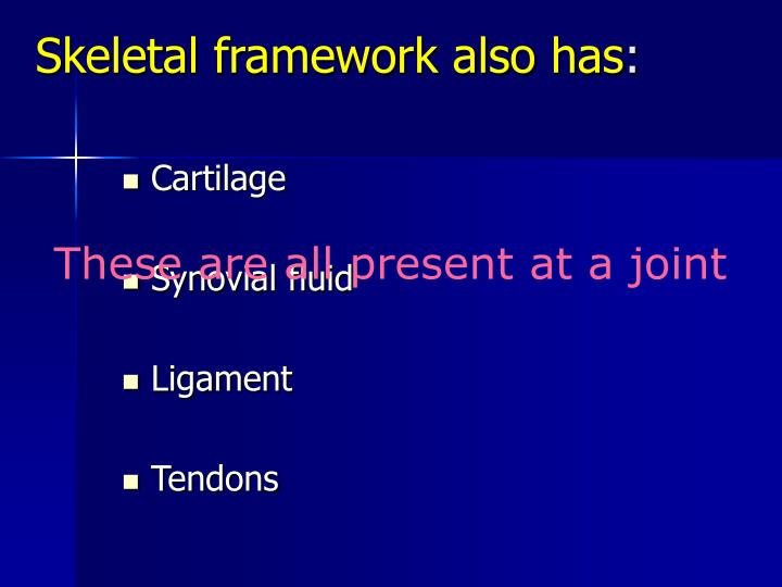 Skeletal framework also has