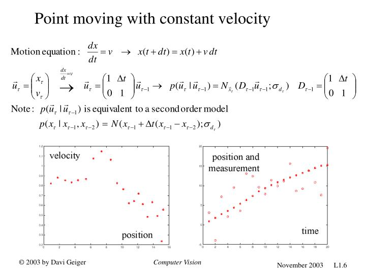 Point moving with constant velocity