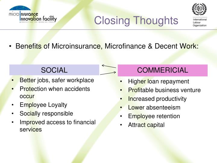 Benefits of Microinsurance, Microfinance & Decent Work: