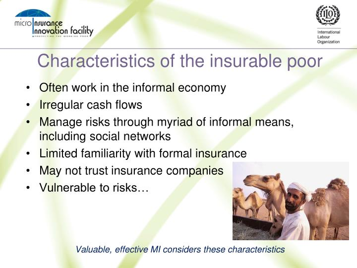 Characteristics of the insurable poor