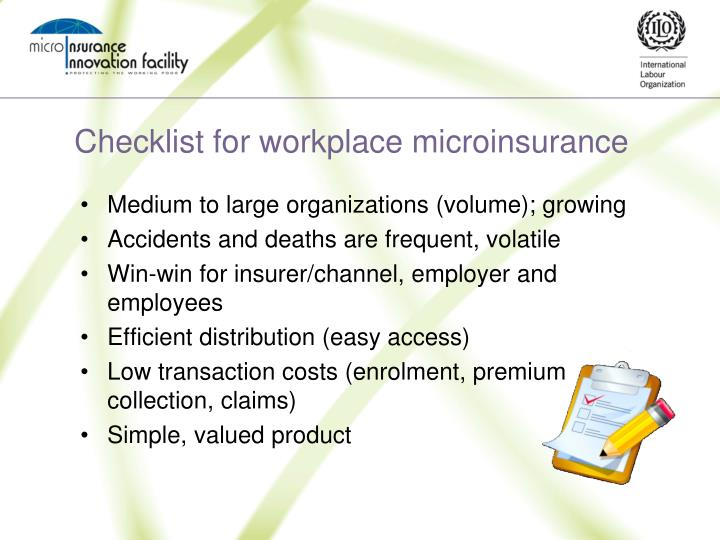 Checklist for workplace microinsurance