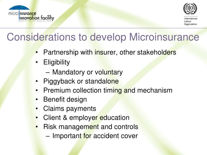 Considerations to develop Microinsurance