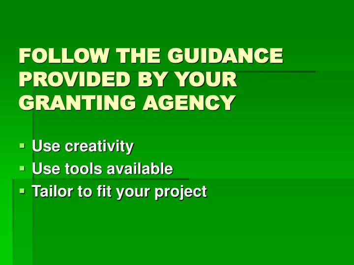 FOLLOW THE GUIDANCE PROVIDED BY YOUR GRANTING AGENCY