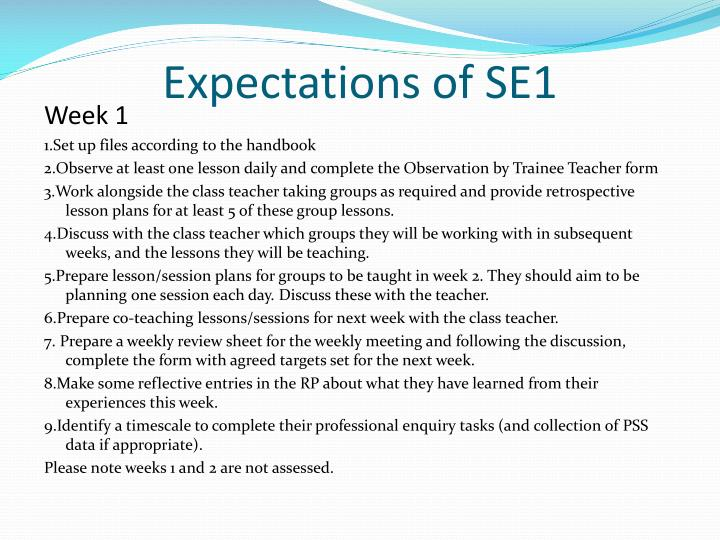 Expectations of SE1