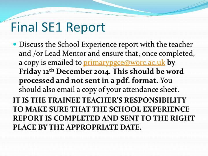 Final SE1 Report