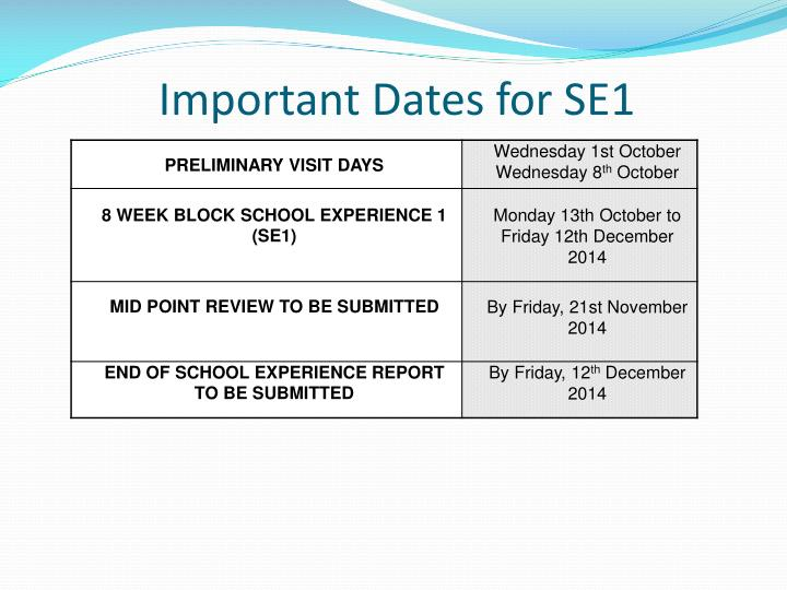 Important Dates for SE1