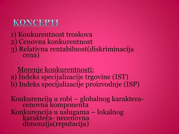 1) Konkurentnost troskova